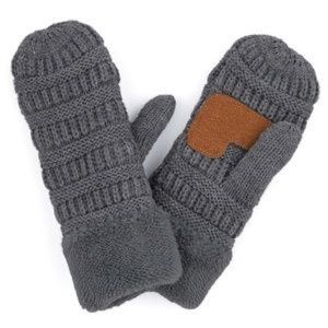 Dark Gray Fuzzy Lined Mittens